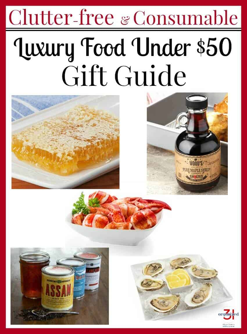 collage of 5 images of food gift items