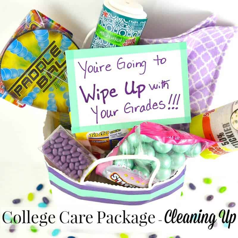 a purple and green college care package with a cleaning theme
