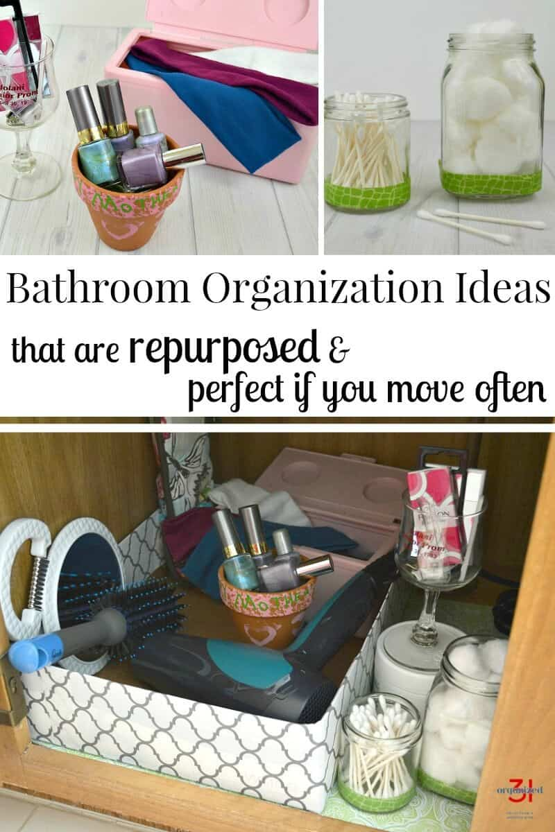 Free bathroom organization ideas you can do today. Earth-friendly organizing ideas that are perfect if you're a military family, move frequently or are on a budget. #GetUnderTheRim [ad]