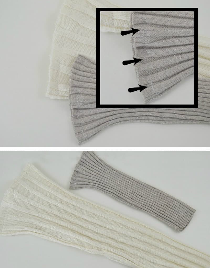 top image - of seam on sweater bag, bottom image - of grey and white knit bags on white table