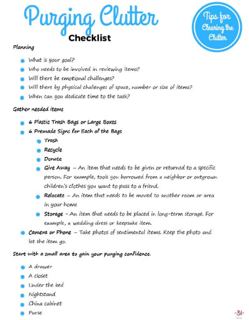 Free Printable Purging Clutter Checklist to help you march through your decluttering and make the best decisions for you and your belongings.