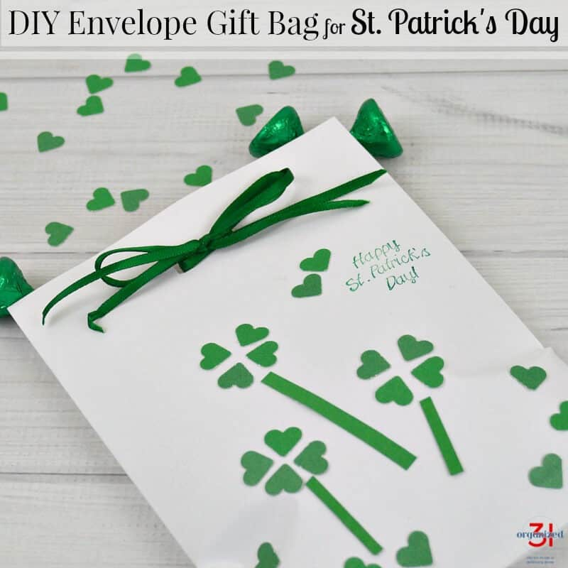 An easy-to-make DIY Envelope Gift Bag for St. Patrick's Day, using items you already have.