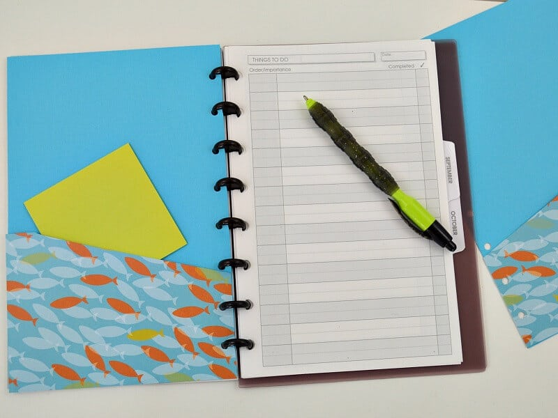 open planner with paper and pen on one side and blue pocket folder with fish pattern on the other