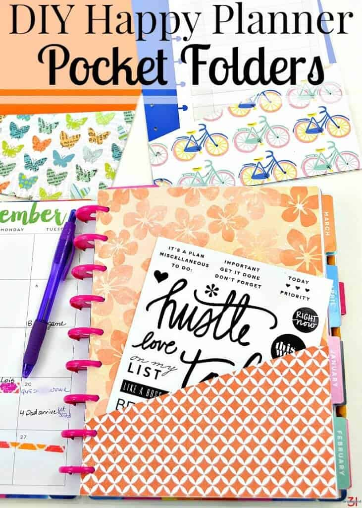 Pocket page in orange in Happy Planner with blue pin