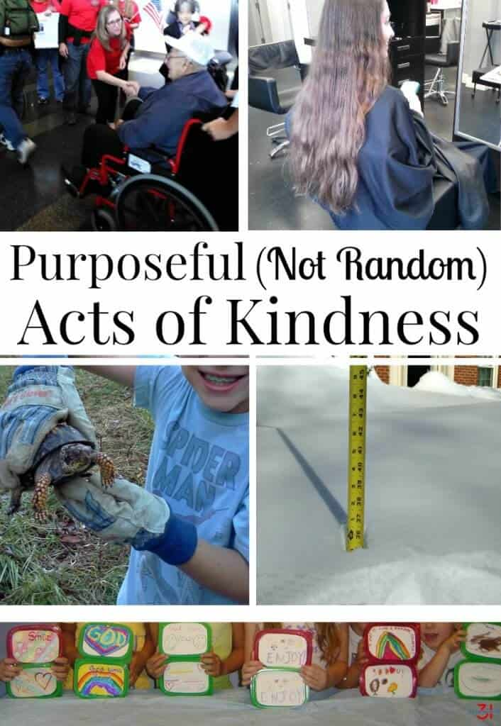 Each month, but particularly this time of year, I make a point of practicing purposeful (not random) acts of kindness and including my entire family in the activities.