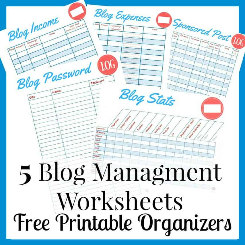 Free printable blog management worksheets for bloggers. I use these worksheets to manage my own blog and now I'm sharing them with you.