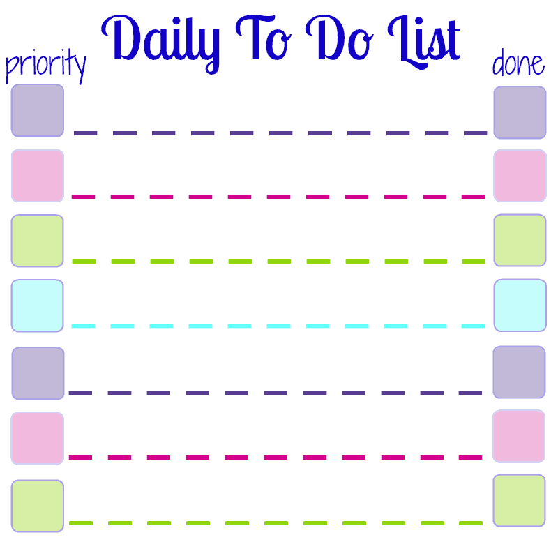 daily to do list printable for sticky notes organized 31. Black Bedroom Furniture Sets. Home Design Ideas