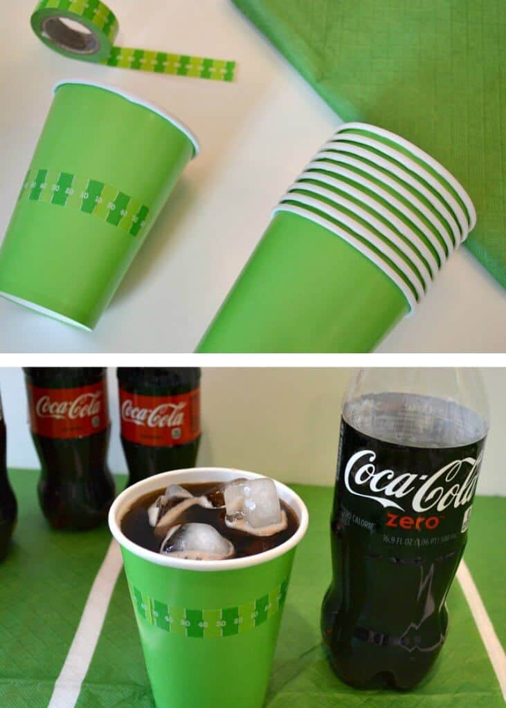 top image - green paper cups with football themed washi tape  and roll of washi tape nearby, bottom image cup of soda with soda bottles near by