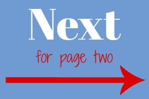 """blue graphic box with text """"next for page two"""" and red arrow"""