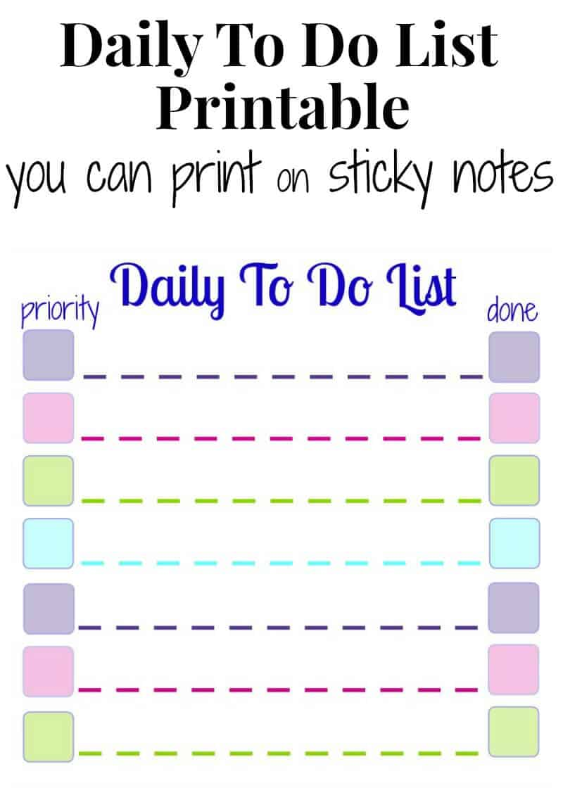Make your own Daily To Do List Sticky Notes with this free printable. It's simple to print your own To Do sticky notes with a stack of Post-It Notes and a printer. Perfect to use with your planner or on your fridge.