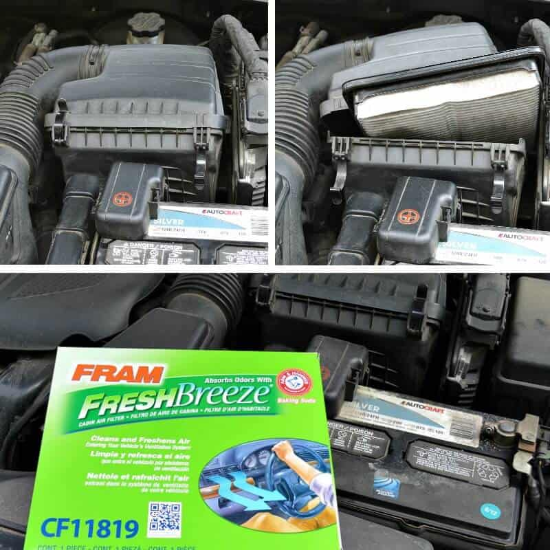 collage of changing car interior air filter