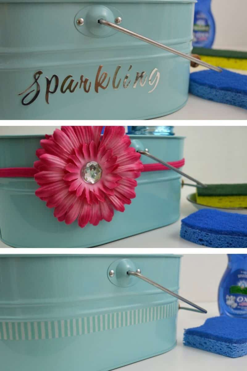 "collage of 3 images of close up blue caddy decorated 3 different ways, one with sliver letters that say ""sparkling"", one with pink flower and one with blue striped washi tape"