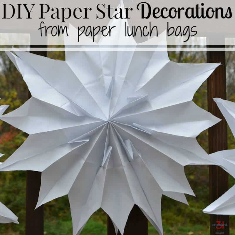 Make your own DIY Paper Star Decorations using inexpensive paper lunch bags. Paper stars are perfect for weddings, graduation, birthday parties and more.