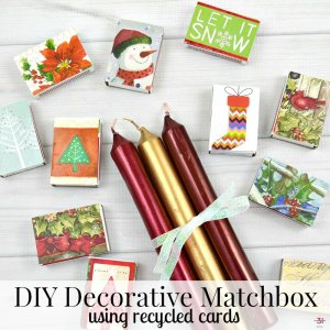 DIY Decorative Matchbox from Recycled Christmas Cards