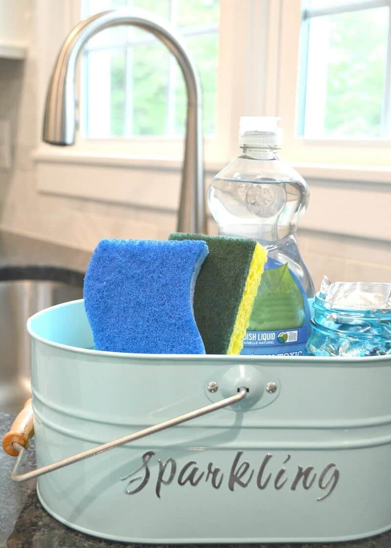 blue caddy with dish soap and sponges next to sink