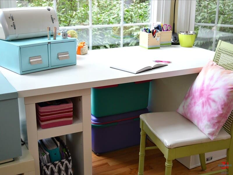 craft room desk with upcycled metal drawers and organized crafting supplies
