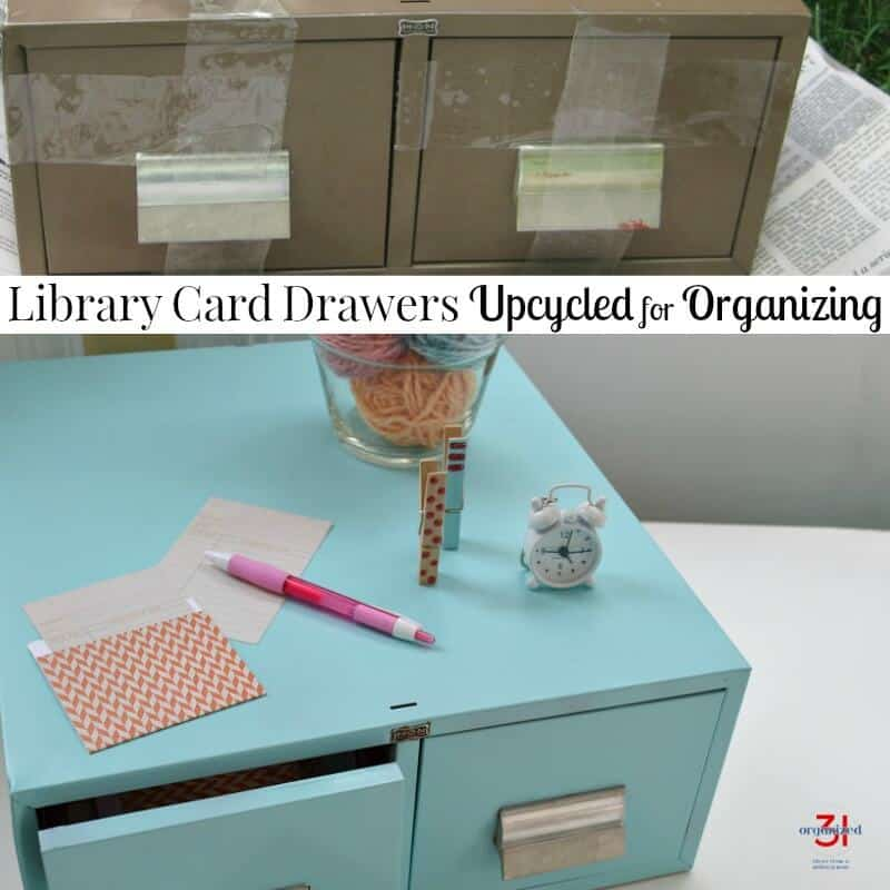 top image - brown beat up library card drawers, bottom image - clean, light blue library card drawers styled with colorful desk items