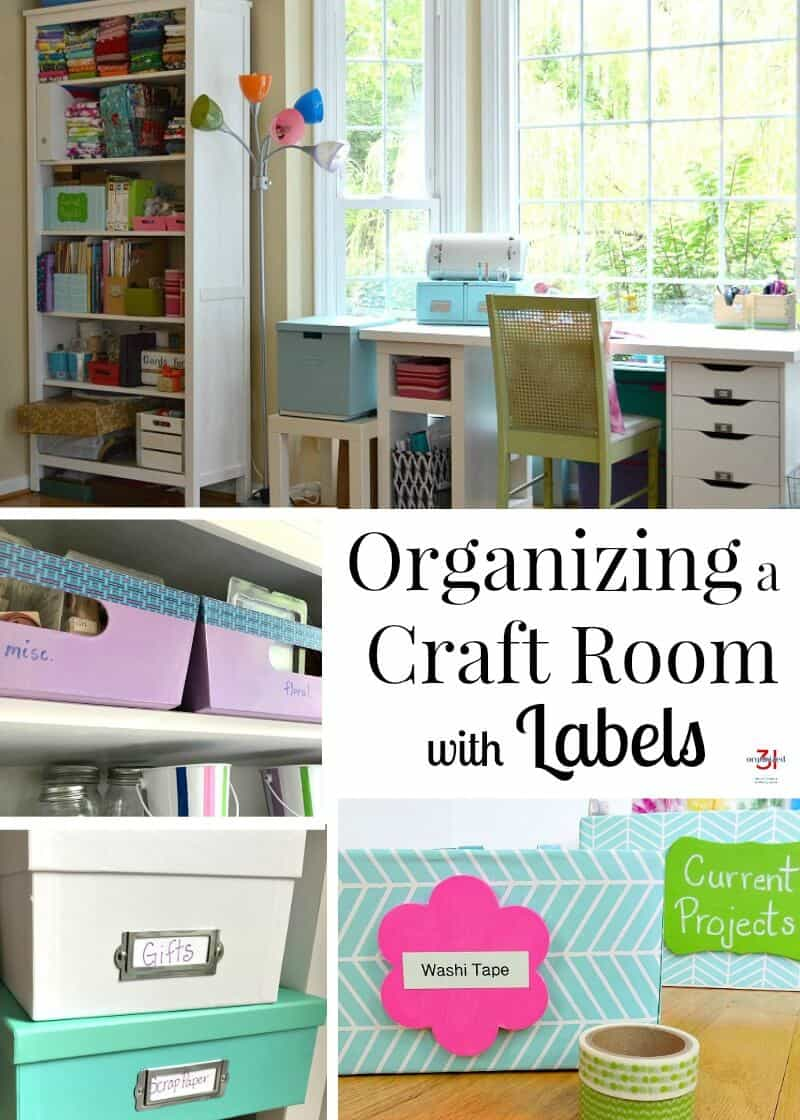 Simple tips for organizing a craft room with labels. Keeping a craft room organized gives you space to be creative by making it easy to find craft supplies.