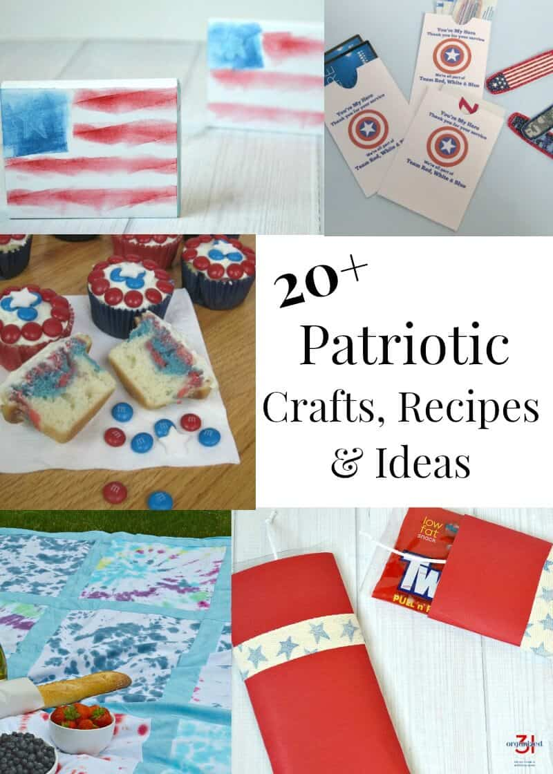 Patriotic craft projects, recipes and idea to celebrate, the 4th of July, Memorial Day, Veterans Day and any patriotic occasion.