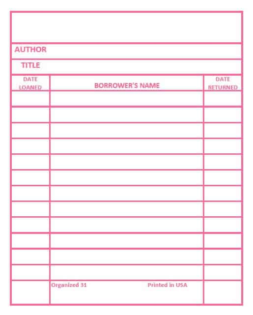 Get your free library cards printable in six different colors. Use these library cards for organizing labels, for cards, for note cards and more.