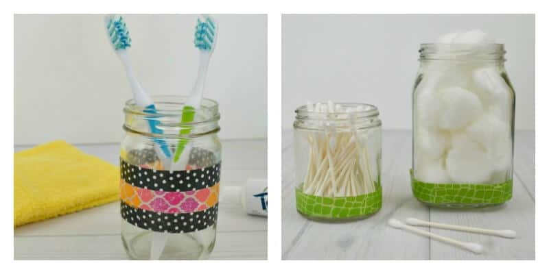 left image - jar holding toothbrushes, right image - 2 jars holding cotton balls and  cotton swabs