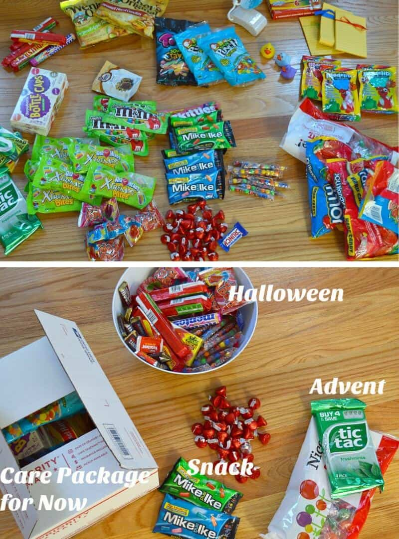 2 photos of piles of candy