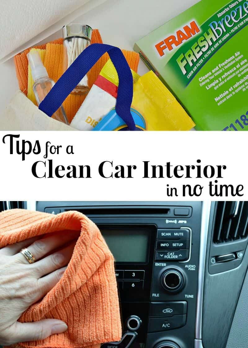 top image - cloth bag filled with cleaning supplies and auto air filter box, bottom image - hand with orange cloth cleaning car dashboard