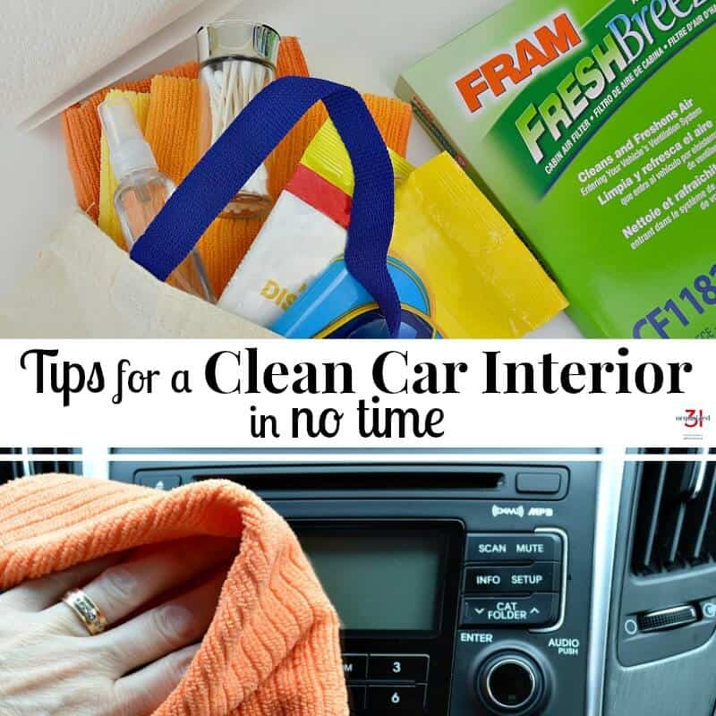 top image bag with cleaning supplies and green box, bottom image - hand with orange cloth cleaning car dashboard