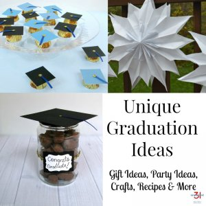 collage of college graduation party ideas with text overlay
