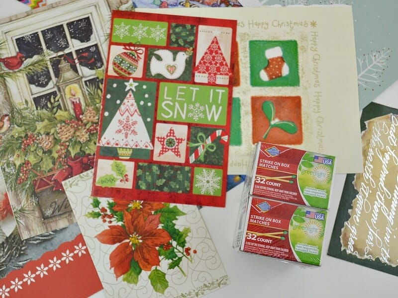 Make decorative matchboxes to give as gifts and for holiday decor. This is a frugal and easy craft that uses recycled Christmas cards.