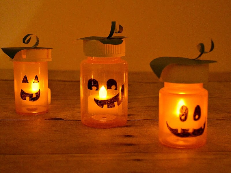 3 glowing jack o'lantern crafts