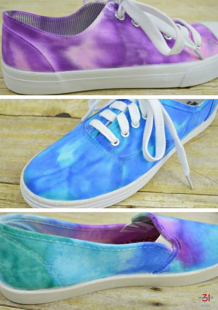 three blue and purple tie dye sneakers