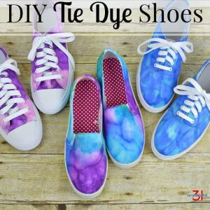 image of three purple and blue tie dye sneakers with text overlay