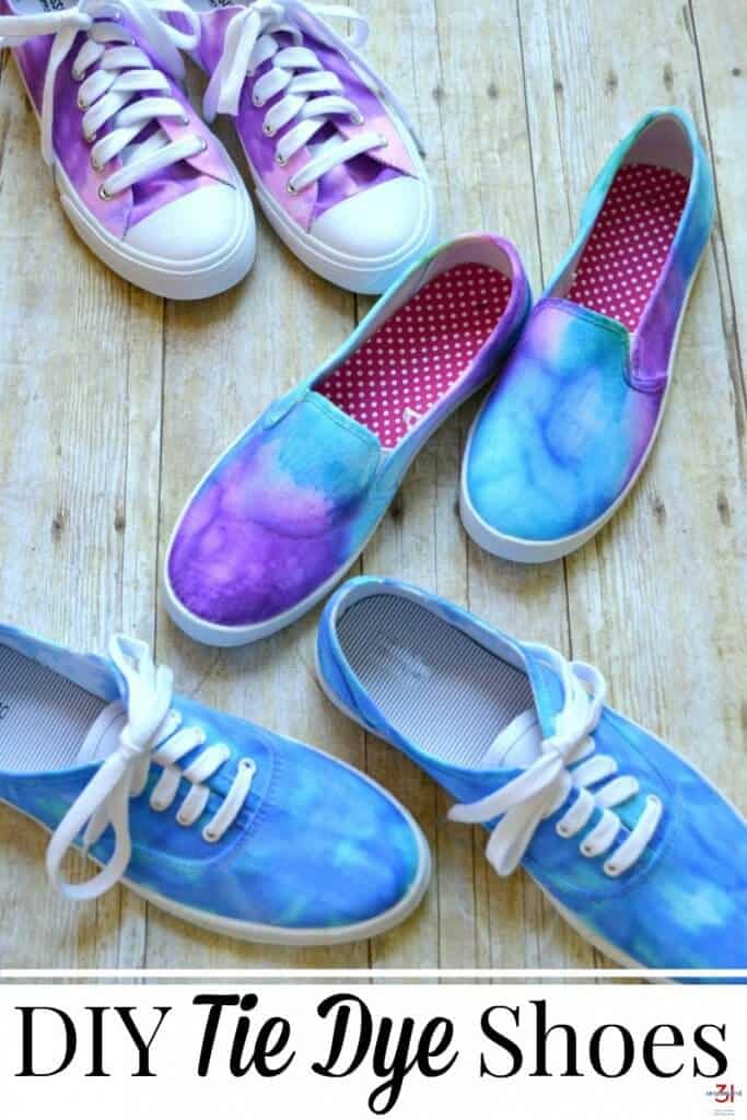 image of three blue and purple tie dye shoes with text overlay reading DIY Tie Dye Shoes