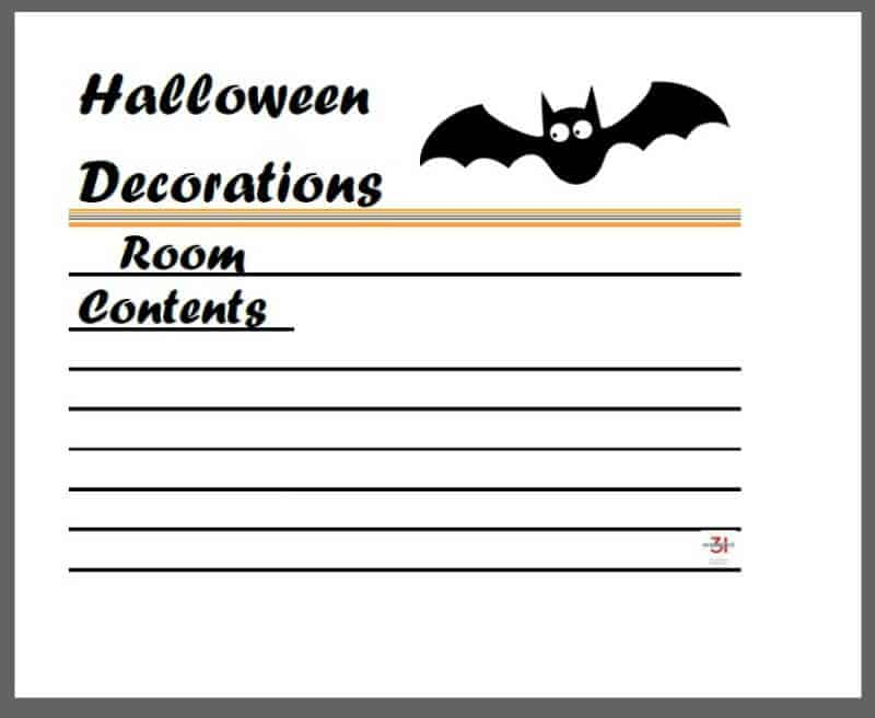graphic of printable Halloween decoration tub label with bat graphic