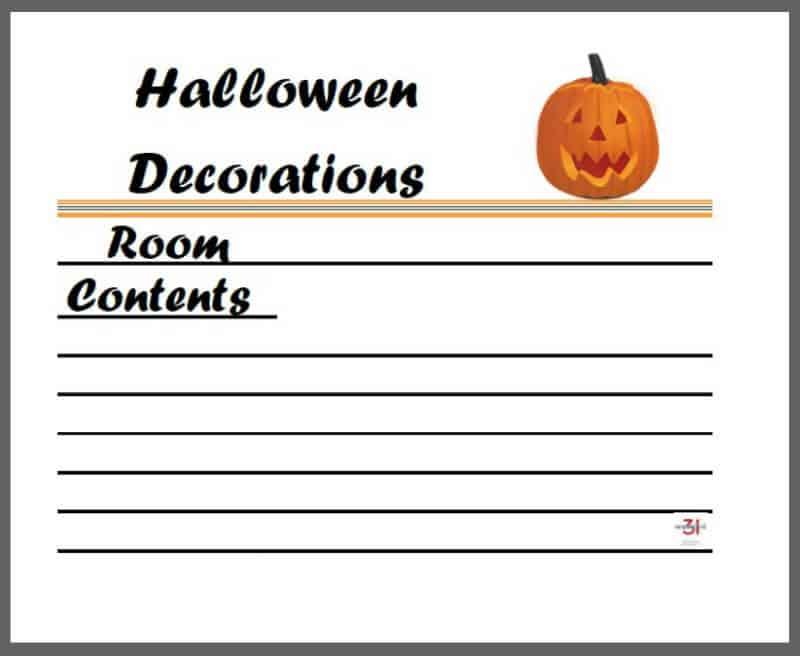 graphic of printable Halloween decoration tub label with jack o lantern