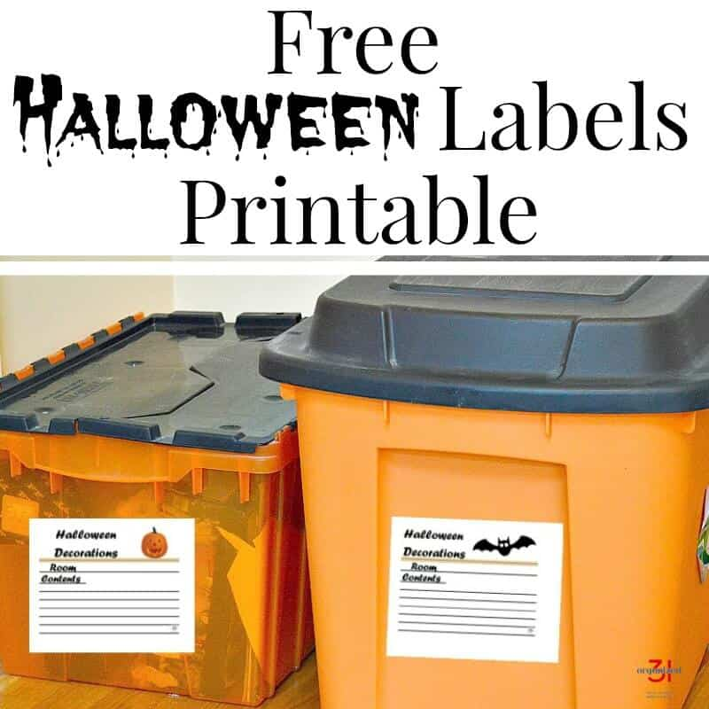 Organize your decorations with this free Halloween labels printable. Label your storage tubs and boxes so you can easily locate your decorations.