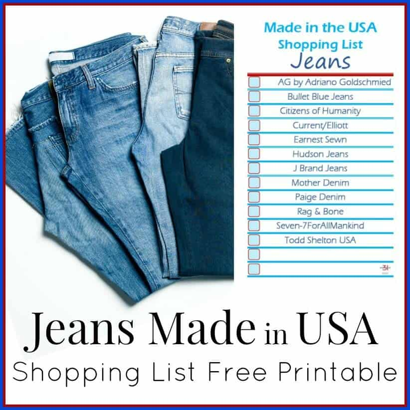 The next time you go shopping, take this free printable Jeans Made in USA Shopping List with you to locate Make in America jeans.