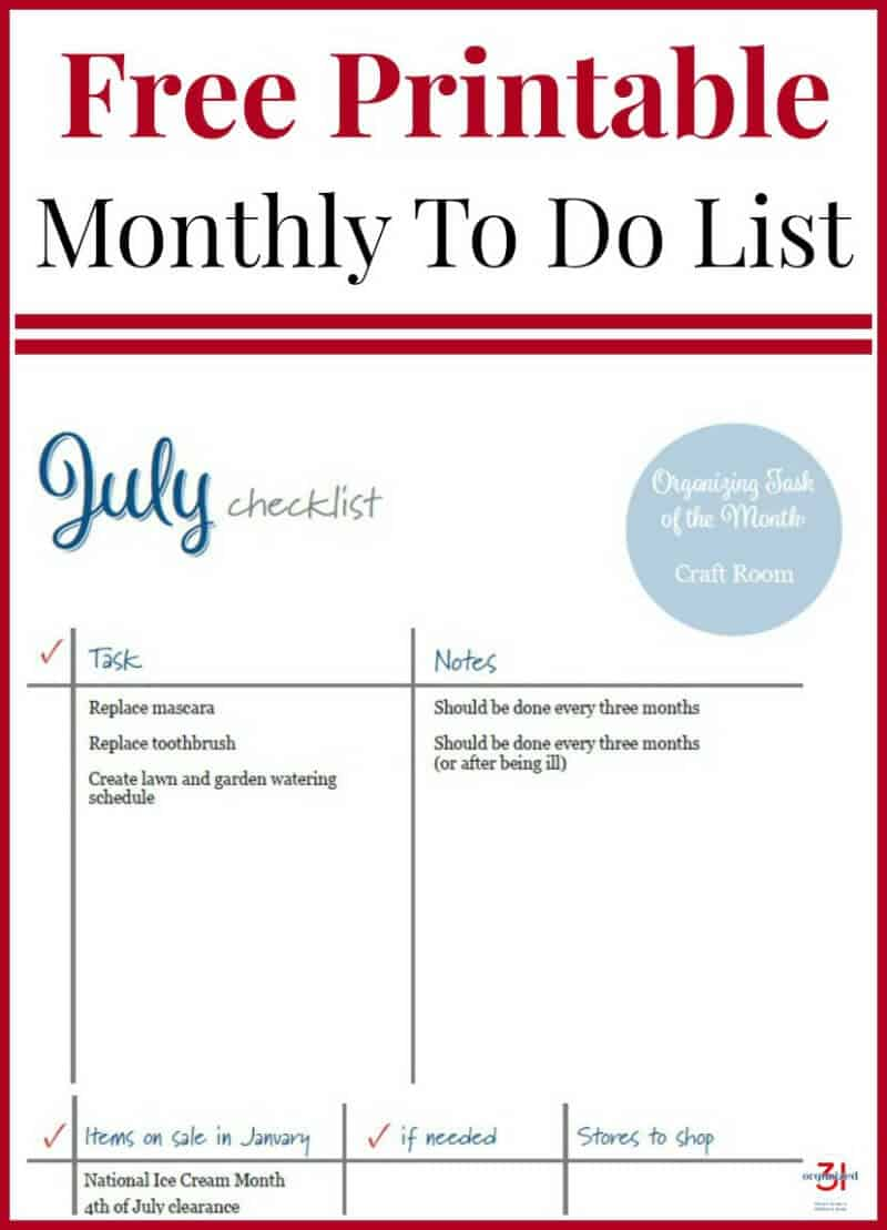 July To Do Checklist Free Printable to organize your home and life.