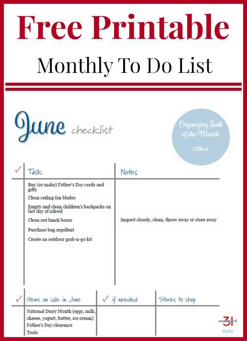 june to do list free printable - organized 31