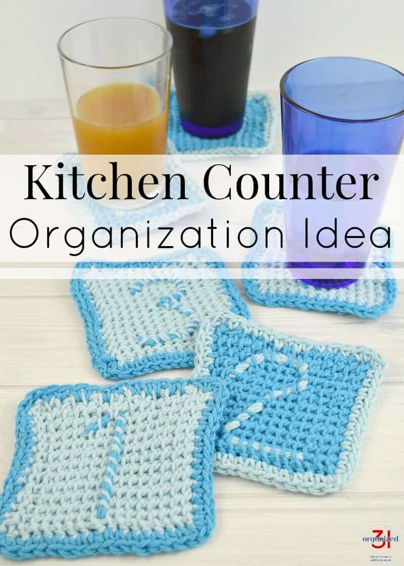 A simple kitchen counter organization idea to keep track of family drinking glasses and keep your kitchen neat and organized.
