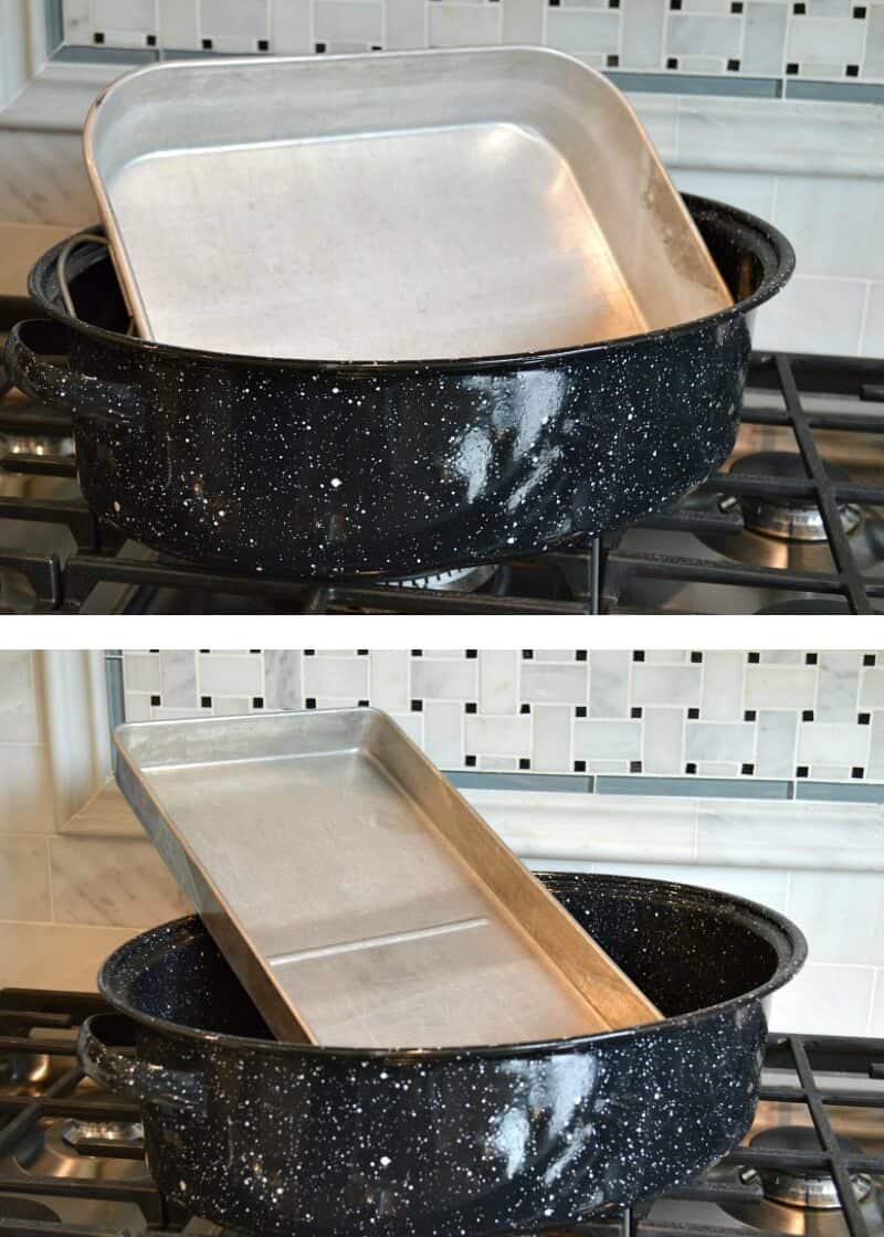 top image - silver pan in large black pan on stove top, bottom image - long silver pan in large black pan ion stove top
