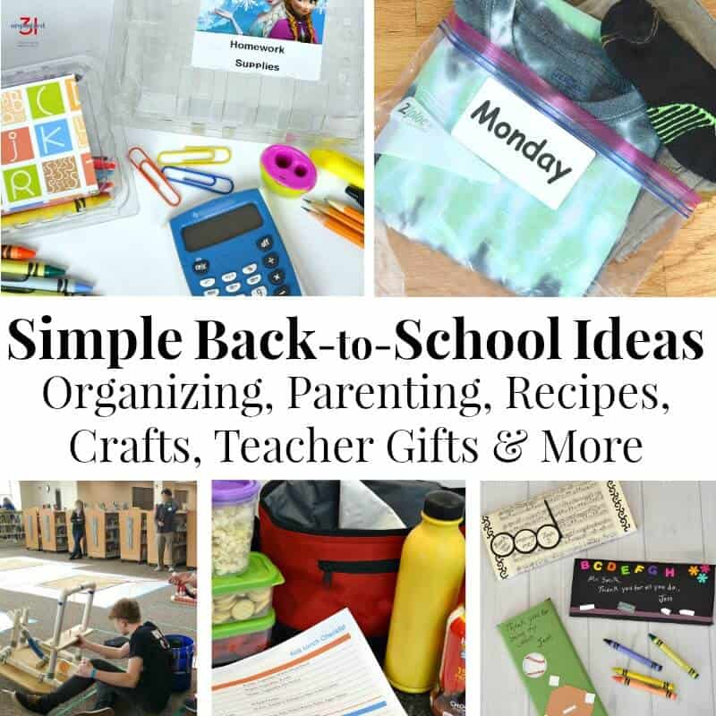 collage of simple back to school ideas with lunches, clothes, and supplies