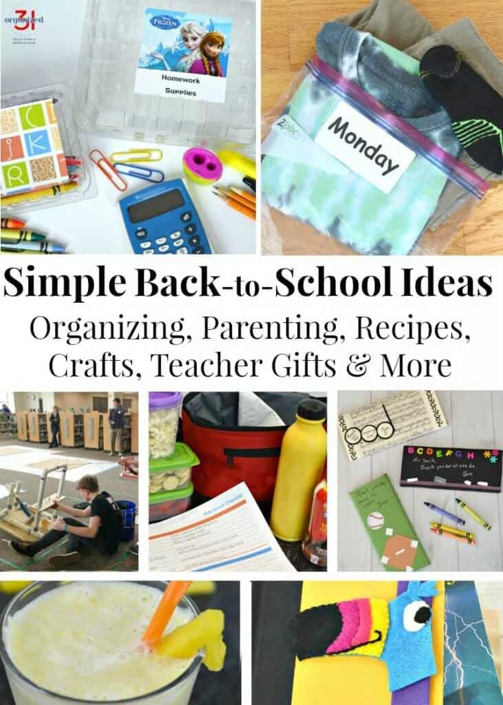 collage of simple back to school ideas