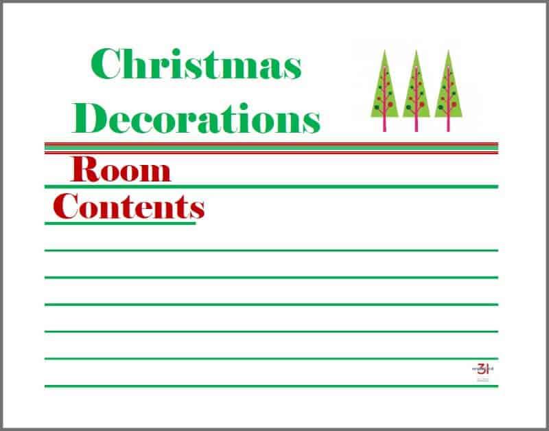 printable Christmas decoration tub labels with Christmas tree graphic