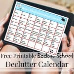 Back-to-School Calendar for Decluttering
