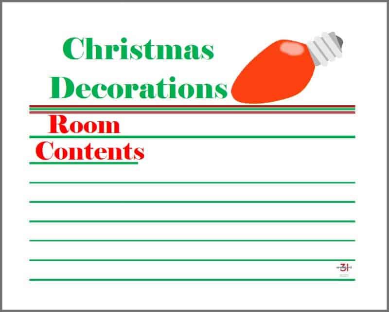 printable Christmas decoration tub labels with Christmas light graphic