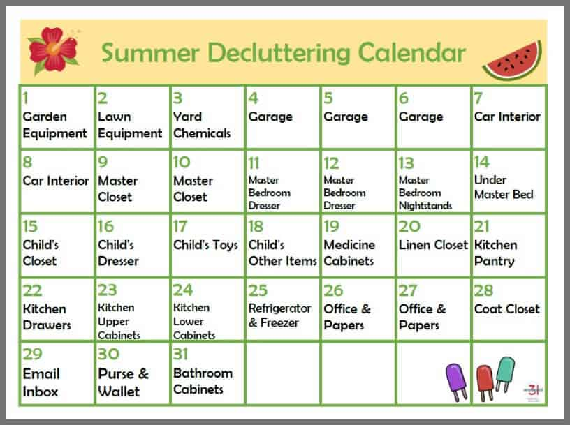 printable summer decluttering calendar