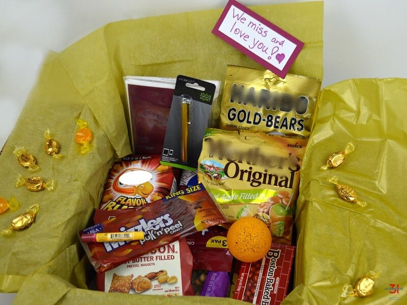 College gift packages with a theme is a fun way to show your student you care. A maroon and gold college care package is a fun color themed gift.