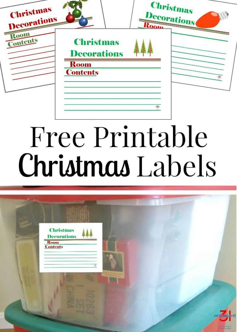 image relating to Free Printable Organizing Labels titled Cost-free Printable Xmas Labels for Xmas Storage Bins